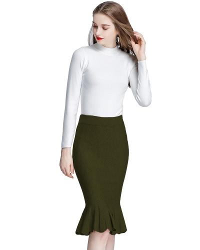 Moda de punto de mediana alta cintura Bodycon falda de las mujeres