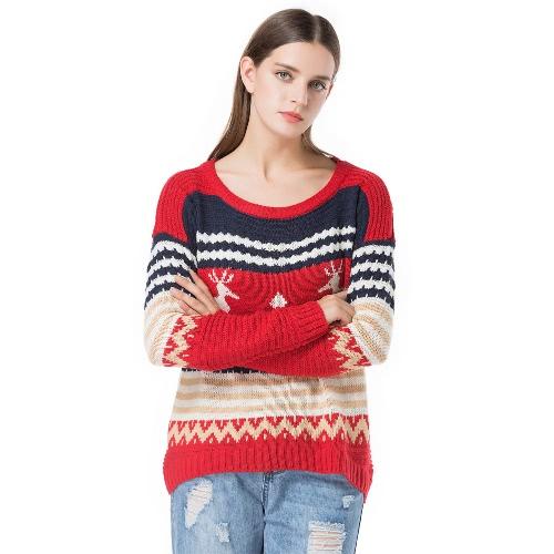Kobiety zimowe Luźny sweter z dzianiny Kolor splotu reniferów O-neck długi rękaw Elegancki ciepły pulower Topy Switwear