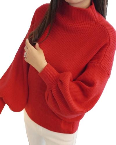 Las mujeres del invierno del otoño hicieron punto el suéter sólido de la manga de la linterna del palo del cuello alto Suéteres sólidos flojos del Knitwear