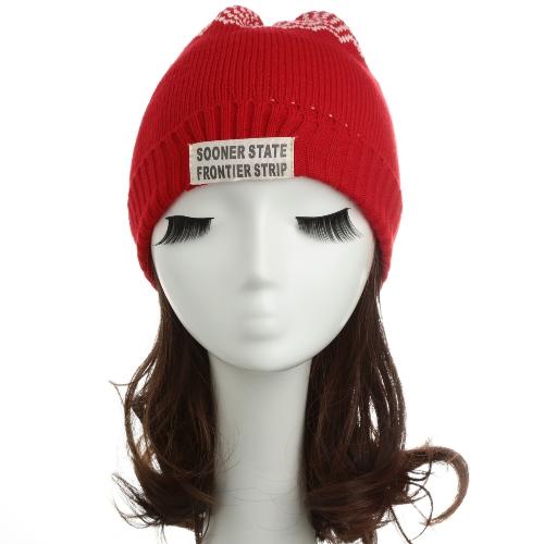 Nuevos hombres de las mujeres de punto Beanie sombrero letra onda Raya redonda vuelta superior danza caliente tapa sombrero