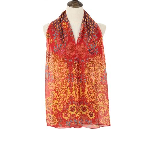 Moda mulheres do Chiffon cachecol pavão azeitonas imprimir longo xale Wrap Casual lenço