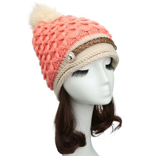 Women Winter Knitted Hat Knit Crochet Faux Fur Pom-Pom Beret Hat Braided Ski Cap