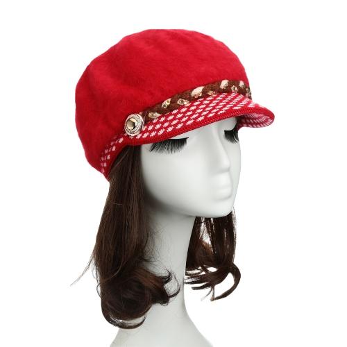 Nova moda mulheres chapéu coelho falso pêlo Slouchy ajuste da malha Brim strass botão decoração Casual Cap