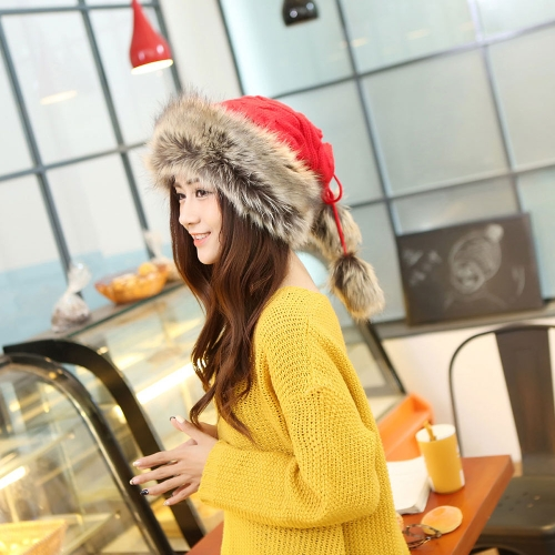 Nueva moda mujer punto gorro chaqueta lazo superior doble uso sombrero bufanda invierno espesa Cap