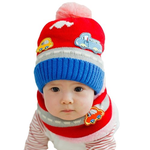 Neue süße Baby Girl Boy gestrickter Hut Schal Set Auto Muster Fleece Warm Cap-Hals wärmer Zweiteiliges Set