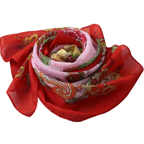 Las nuevas mujeres de Bohemia de la gasa de la bufanda de la impresión floral de Long Beach Chal Pashmina Bufanda elegante delgada