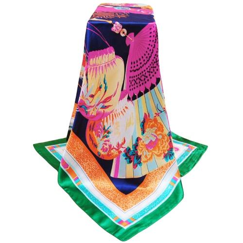 Bufanda de las mujeres del estilo chino de la nueva vendimia impresión del diseño cuadrado del cruzado fino chal de raso pañuelo