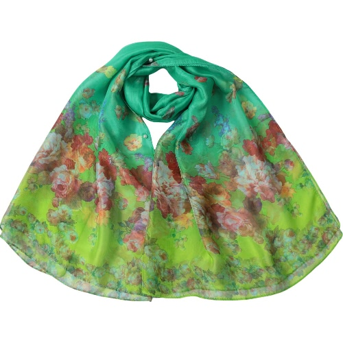Vintage Women Long Scarf Shawl Floral Print Multi Ways Dual Layer Bead Closure Scarf Thin Pashmina Cover Up Green/Blue/Pink
