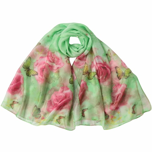 Nowej kobiet Chiffon Scarf Floral Print Kontrast długich cienkich Pashmina Jedwabny Szal Plaża Cover Up