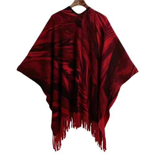 Las mujeres del invierno del poncho del cabo superior de la borla con flecos bufanda de la impresión del suéter de la rebeca capa roja / gris / de color caqui