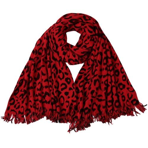Kobiety Zima szalika chusty Leopard Print Tassel Długi Ciepły Duży Gruby chusty Pashmina