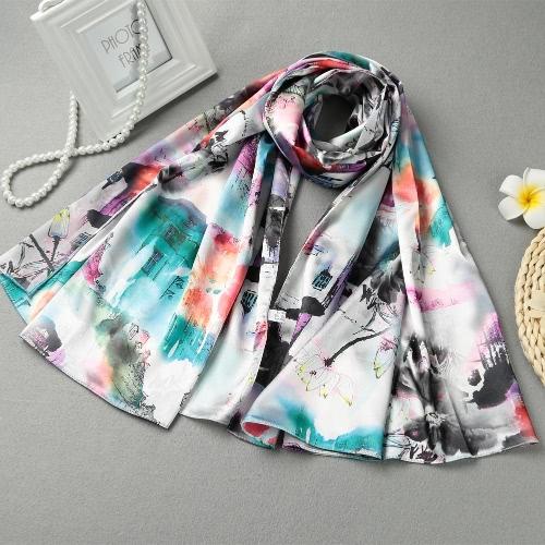 Image of Weinlese-Frauen-Silk Schal chinesischen Tinte und Wäsche-Druck-langes Schal-Schal Pashmina