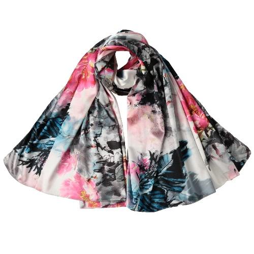 Las mujeres de seda de la vendimia de la bufanda de la tinta china y lavar impresión de gran tamaño mantón de las bufandas de Pashmina