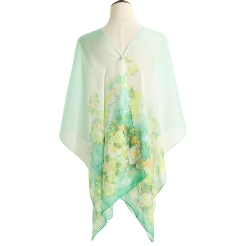 New Women Chiffon Scarf Floral Print Contrast Long Thin Pashmina Silk Shawl Beach Cover Up