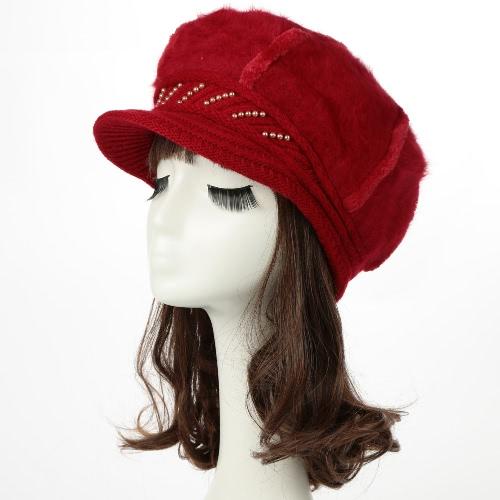 Invierno de las mujeres de la nueva manera del sombrero de la boina de punto de ala espesa el casquillo caliente Headwear