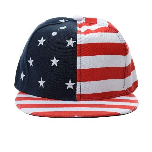 Neu Frauen Männer Cap Amerikanische Flagge USA Letter Print Snapback Flat Hat Baseball Hip-Pop Cap Rot / Schwarz