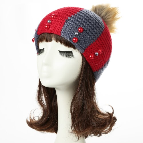 New Women Winter Hat Beanie Knit Cap Contrast Stripe Pom Pom Bead. 6a5815c91fd7