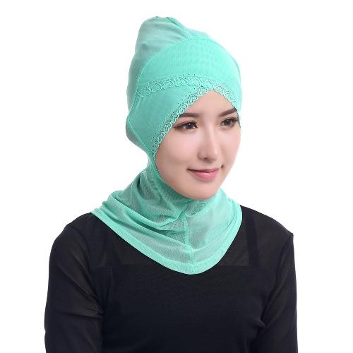 Cubierta de la cabeza de la moda de la cubierta completa de la bufanda musulmán Hijab islámico del Rhinestone del cordón del turbante Gorros underscarf Ninja Hijab