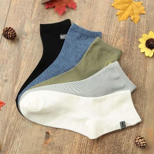 TOMTOP / Winter Women Girls Cotton Socks Letter Embroidery Solid Color Soft Warm Socks Hosiery