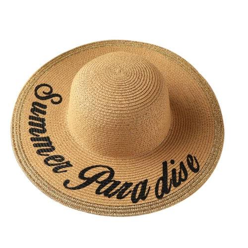 Las mujeres sombrero de paja grande ancho del verano del borde del casquillo de playa de Boho Imprimir sombrero flojo Blanco / Beige / Marrón