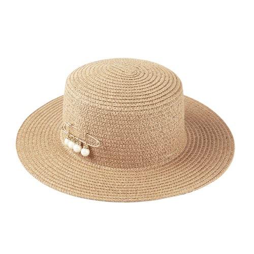 Forme a mujeres sombrero para el sol sombrero de paja de ala ancha sólido del grano del verano de Sunbonnet de la playa del sombrero de Panamá