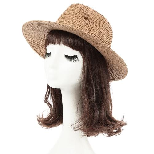Moda unisex sombrero para el sol sombrero de paja de ala ancha sólido del remache de la correa del verano Sunbonnet Playa Panamá sombrero de Brown / Beige