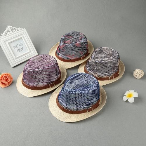 571cf920ca7 Fashion Boy Girl Straw Hat Contrast Hollow Sheer Mesh Belt Fedora Curly  Brim Unisex Baby Kids Panama Jazz Trilby Hat Cap