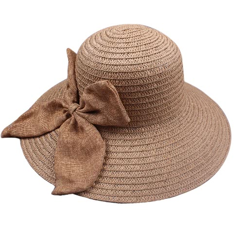 Летняя женская соломенная шляпа с широким краем лука Украшение Sun Beach Cap Складная гибкая шляпа Бежевый / коричневый