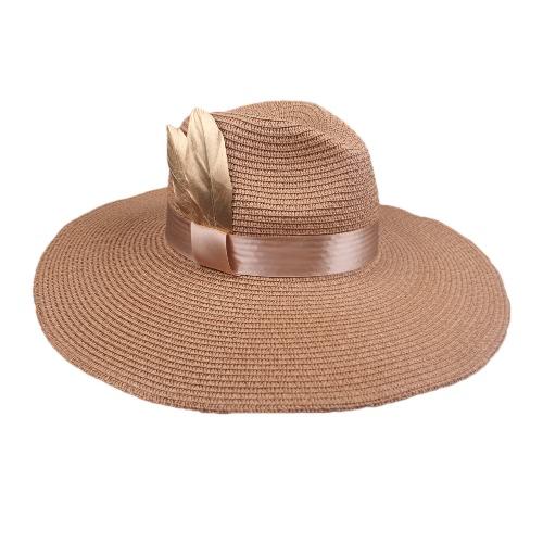 Frauen-Sprint-Sommer-Sun-Kappe Vintager Weit-Brim Fedora-Hut-Bowler-Disketten-Strand-Hut Brown