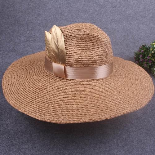 Women Sprint Summer Sun Cap Vintage Wide-Brim Fedora Hats Bowler Floppy Beach Hat Brown