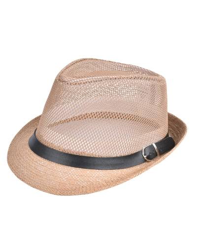 Moda unisex sombrero de sol sombrero de paja sólido hueco hacia fuera correa de metal Sunbonnet verano Trilby Fedora playa Panamá sombrero