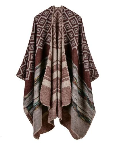 Зимние женщины Loose Outerwear Coat Негабаритные трикотажные кашемировые пончо фото