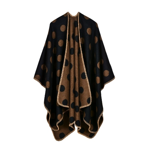 Winter-Frauen-Poncho-Strickjacke übergroßer gestrickter Punkt-Umhang-Schal lose outwear Mantel-Kap-Wolljacke