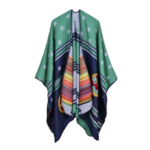 Kobiety Zimowe Poncho Sweter Oversized Knitted Stripe Gwiazda Szalik Szalik Luźny Outwear Coat Cape Cardigan