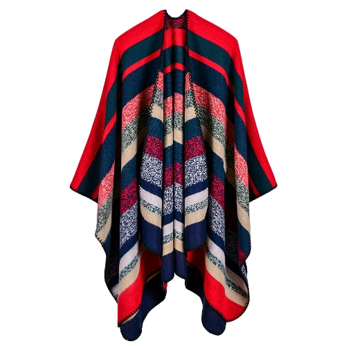 Mujer Poncho Bufanda Cardigan Suéter Rayado Caliente Cabo Shawl Bufandas Largas Pashmina Outwear
