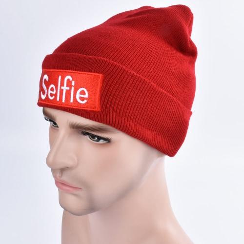 Forme a hombres las mujeres Selfie bordan la gorrita tejida de la gorrita tejida del invierno del sombrero casquillo caliente Unisex Hippop Slouchy Skull Hat