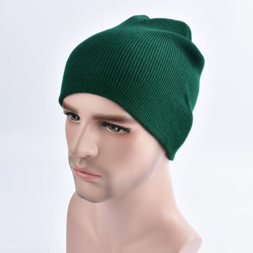 Moda Hombres Mujeres Plain Beanie Sombrero De Tejido De Invierno De Cuello De Cuello De Color Sólido Unisex Hip-pop Slouchy Skull Hat