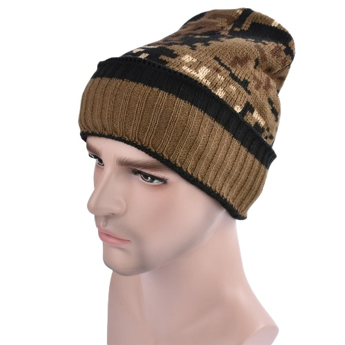 Men Women Unisex Camouflage Fleece Forro Beanie Thicken Inverno Quente Hat Knit Camo Ski Bonnet Gorros