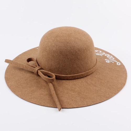 Women Wide Brim Fedora Hat Sequin Letter Cap Sun Hat Solid Sunbonnet Trilby Beach Panama Hat
