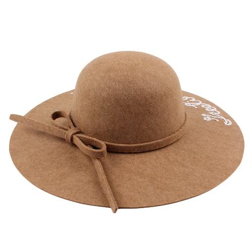 Mujeres de ala ancha Sombrero de Fedora Gorra de lino de la letra Sombrero de Sun Sunbonnet sólido Trilby Beach Sombrero de Panamá