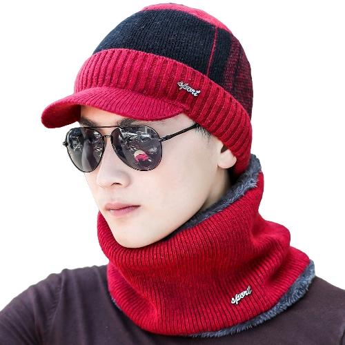 Sombrero de béisbol de punto de los hombres acanalado bloque de color Deporte al aire libre Hip Hop Casquillo de invierno de la gorra de invierno cálido ocasional