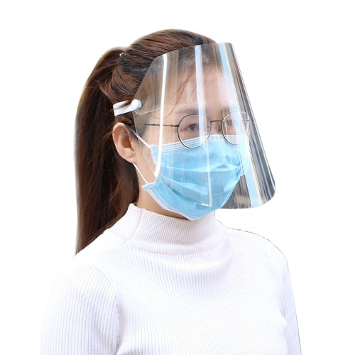 Protective Face Shield Clear Visor Flip Up Transparent Mask Anti Splash Elastic Band Full Face Cover for Workshop Cooking Cleaning