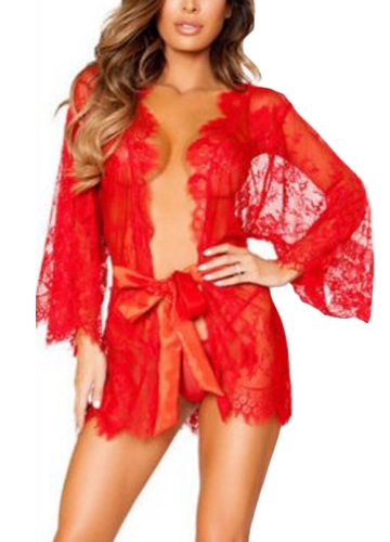 Sexy Femmes Lingerie Sommeil Robe Sheer Mesh Dentelle Garniture Ceinture Flare Manches Longues Mini Robe de Nuit G-String
