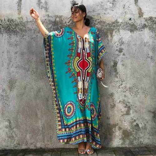 Étnico Mujeres cubre para arriba más el tamaño de cuello en V impreso maxi de Boho Hipppie Dashiki del vestido de la playa del bikini Kaftan