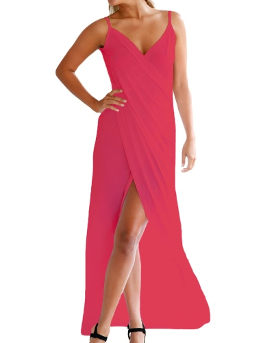 Mujeres Spaghetti Strap Backless playa superposición Maxi vestido largo