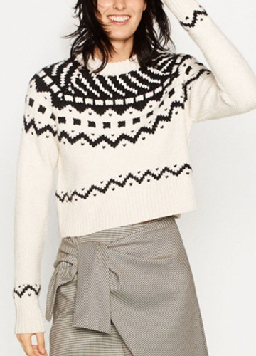Women Knitted Sweater Contrast Geometric Patterns Long Sleeve Ribbed Trim Casual Pullover