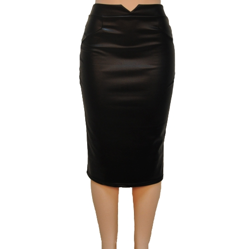 Europe Sexy Women Skirt PU Leather Solid Color Midi Pencil Skirts OL Casual Slim Clubwear Black