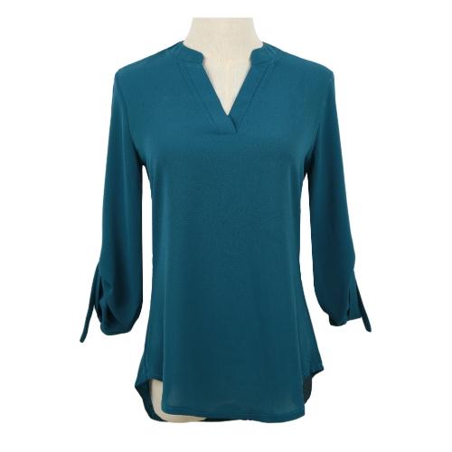 Nuevo las mujeres blusa de Gasa V ficha D-anillo manga larga camisa Casual Top de cuello