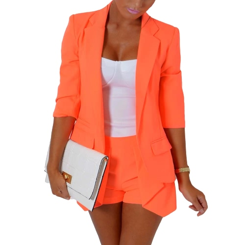 New Fashion Women Two-Piece Set 3/4 Sleeve Open Blazer Jacket Hot Pants Shorts Slim OL Suit Orange/Rose