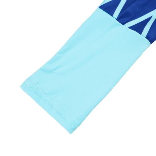 TOMTOP / Nova moda mulheres t-shirt longo contraste listra bolso redondo pescoço manga longa blusa Top Casual azul